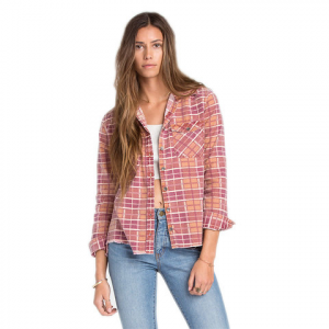 Billabong Waiting For Dawn Flannel - Womens Black Cherry Sm