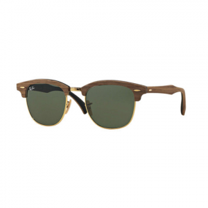 Ray-Ban Clubmaster Wood Sunglasses Brown Wood/blue Gry