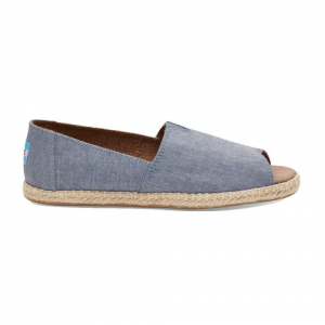 Toms Open Toe Alpargata Blue Slub Chambray 9.5