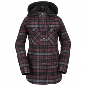 Volcom Hooded Flannel Jacket - Women's Merlot S