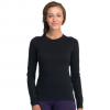 Icebreaker Oasis Long Sleeve Crewe - Women's Snow/stealth/stripe Sm