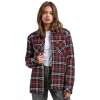 Volcom Plaid About You Long Sleeve Flannel Shirt - Women's Burgundy Md