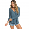 Roxy Airport Vibes Knitted Hoodie - Women's Blue Mirage Lg