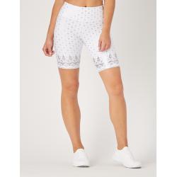 High Power Bike Short: White Gloss Wildflower Lace Print