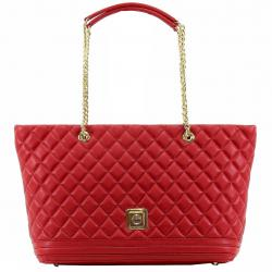 Love Moschino Women's Quilted Nappa Leather Tote Handbag - Red - 10.5H x 14.5L x 5.5D