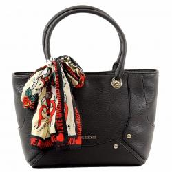 Love Moschino Women's Pebbled & Studded Satchel Handbag W/Scarf - Black - 9.5H x 12L x 6D In