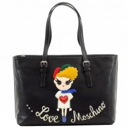 Love Moschino Women's Embroidered Girl Leather Tote Carry All Handbag - Black - 9.5H x 14L x 4.5D in