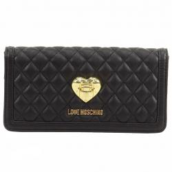Love Moschino Women's Quilted Leather Clutch Shoulder Handbag - Black - 4.5 H x 8.5 L x 2 D