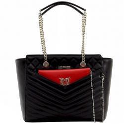 Love Moschino Women's Quilted Double Chain Handle Satchel Handbag - Black - 10.5H x 15.2L x 15D
