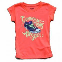 Converse Girl's All Star 1908 Chuck Taylor Short Sleeve T Shirt - Orange - 6X