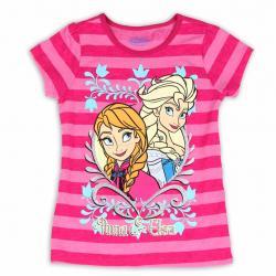 Disney Frozen Girl's Elsa & Anna Striped Glitter Short Sleeve T Shirt - Pink - 4
