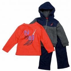 Nautica Infant Toddler Boy's 3 Piece Set Fleece Long Sleeve & Sweat Pant Outfit - Grey - 12 Months