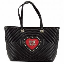 Love Moschino Women's Studded Heart Leather Tote Handbag - Red - 11.5H x 13.5L x 6D