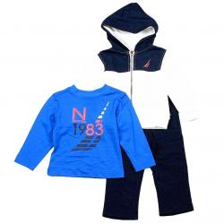 Nautica Infant Toddler Boy's 3 Piece Set Fleece Long Sleeve & Sweat Pant Outfit - White - 12 Months