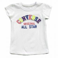 Converse Girl's Original All Star Short Sleeve T Shirt - White - 6X