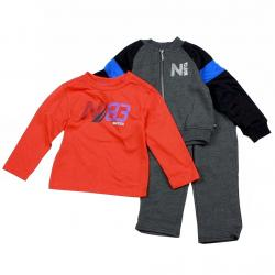 Nautica Infant Toddler Boy's 3 Piece Set Fleece Long Sleeve & Pant Outfit - Black - 2T   Toddler