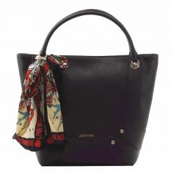 Love Moschino Women's Pebbled & Studded Tote Handbag W/Scarf - Black