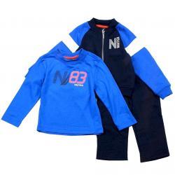 Nautica Infant Toddler Boy's 3 Piece Set Fleece Long Sleeve & Pant Outfit - Blue - 2T   Toddler