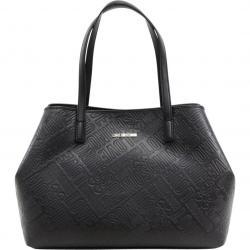 Love Moschino Women's Logo Embossed Satchel Handbag - Black - 11H x 15L x 5D in