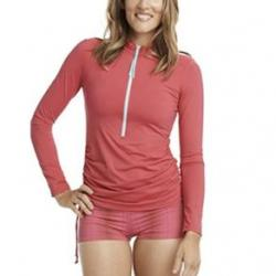Carve Designs Cruz Rashguard Sun Shirt - Women's L Strawberry/Turquoise