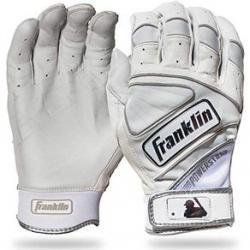 Franklin Adult Powerstrap Chrome Batting Gloves XXL White