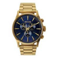 Nixon Sentry Chronograph Watch One Size Gold/Blue Sunray