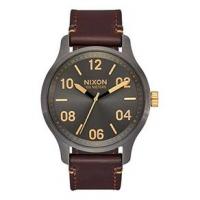 Nixon Patrol Leather Watch - Men's One Size Gunmetal/Gold