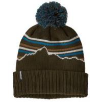 Patagonia Powder Town Beanie - Kids' One Size Fitz Roy Retro Stripe Knit/Kelp Forest