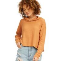 Billabong Adelaide Crop Pullover Hoodie - Women's L Toffee