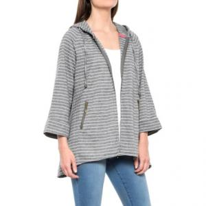 Striped Hooded Jacket - Linen-Cotton (For Women)