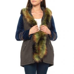 Furry Velvet Blocked Legion Parka - Insulated (For Women)