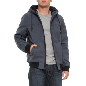 Soft Shell Varsity Hooded Bomber Jacket (For Men)