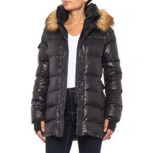 Gloss Zip Double-Front Belted Down Coat (For Women)