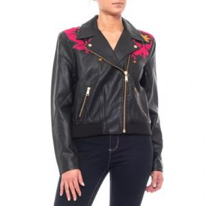 Black-Rose Print Solid Pleather Moto Jacket (For Women)
