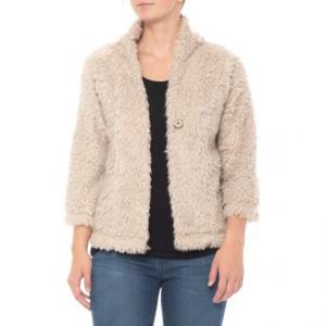 Natural Lite Cashmere Fur Crop Jacket - 3/4 Sleeve (For Women)
