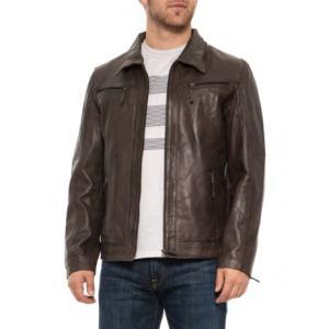 Adel Brown Leather Jacket (For Men)