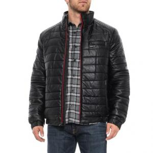 Faux-Leather Moto Puffer Jacket - Insulated (For Men)