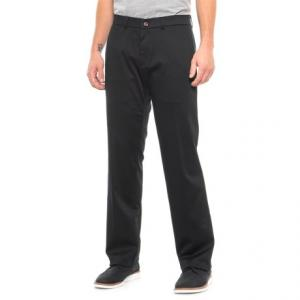 Flat Front Solid Woven Cotton Pants - 4-Pocket (For Men)
