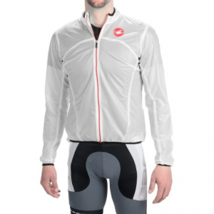 castelli sottile due cycling jacket (for men)- Save 55% Off - CLOSEOUTS . A light-as-a-feather, race-worthy layer that you can stash in your pocket! Castelliand#39;s Sottile Due cycling jacket blocks wind and water, and because itand#39;s semi-transparent, your race number and team colors are visible underneath, making it an excellent choice for the unpredictable race-day weather. Available Colors: TRANSPARENT WHITE, YELLOW FLUO, DRIVE BLUE. Sizes: S, M, L, XL, 2XL, 3XL.