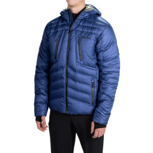 marmot aerial hooded down jacket - 700 fill power (for men)- Save 55% Off - CLOSEOUTS . Marmotand#39;s Aerial hooded down jacket protects you from frigid mountain conditions and boasts flattering chevron quilting. The 700 fill power down is treated for water resistance, and thumbhole stretch inner cuffs seal out cold air. Available Colors: BLACK, INDIGO BLUE, DARK CRIMSON. Sizes: S, M, L, XL, 2XL.