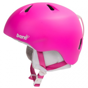 bern nina ski helmet - removable liner (for little girls)- Save 33% Off - CLOSEOUTS . Let her tear up the terrain park and head downhill with Bern's Nina ski helmet, a well-ventilated design that's perfect for young skiers and snowboarders. Available Colors: GLOSS PURPLE/WHITE, GLOSS CYAN RACING STRIPE/WHITE VISOR KNIT, GLOSS WHITE/WHITE VISOR KNIT, MATTE MAGENTA/WHITE VISOR KNIT, GLOSS WHITE RACING STRIPE, GLOSS WHITE/WHITE FLEECE, GLOSS PINK, GLOSS WHITE. Sizes: XS/S, S/M.