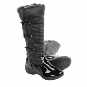 khombu abigail winter boots - waterproof, insulated (for women)- Save 49% Off - CLOSEOUTS . Khombuand#39;s Abigail winter boots help you put your best foot forward, even as the temps dip far below freezing -- theyand#39;re packed with cozy Thermoliteand#174; insulation and comfort rated to -20and#176;F. These boots have a full side zipper for easy access and stylish drawcord buttons that add a touch of charm. Available Colors: PEWTER/PATENT, BLACK/PATENT. Sizes: 6, 7, 8, 9, 10, 11, 5.