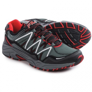 fila headway 6 trail running shoes (for men)- Save 50% Off - CLOSEOUTS . Head out in comfort with Filaand#39;s Headway 6 trail running shoes. The shock-absorbing foam midsole and removable padded insole will keep you performing at top level, and the composite overlays at the toe, side and heel add extra protection through each off-road stride. Available Colors: CASTLEROCK/BLACK/FILA RED, BLACK/BLACK/METALLIC SILVER. Sizes: 7, 7.5, 8, 8.5, 9, 9.5, 10, 10.5, 11, 11.5, 12, 13.
