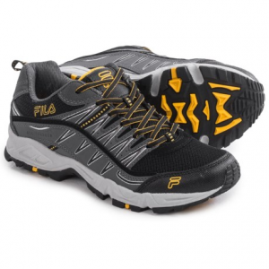fila at peake trail running shoes (for men)- Save 57% Off - CLOSEOUTS . Discover the highest peak around in Filaand#39;s At Peake trail running shoes. The tough toe rand and rubber toe guard will protect and comfort your dogs over every stump, boulder and creek crossing, and the Dynamic Landing Systemand#174; (DLS) foam midsole will cushion and absorb your every step. Available Colors: CASTLEROCK/BLACK/VIBRANT ORANGE, BLACK/CASTLEROCK/FILA RED, BLACK/CASTLEROCK/GOLD FUSION, CASTLEROCK/HIRISE/BLACK. Sizes: 7.5, 8, 8.5, 9, 9.5, 10, 10.5, 11, 11.5, 12, 13, 7.