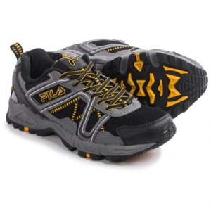 fila ascente 15 trail running shoes (for men)- Save 57% Off - CLOSEOUTS . Filaand#39;s Ascente 15 trail running shoes help you follow the trail all the way through. The lugged rubber outsole and shock-absorbing EVA midsole help out by gripping the terrain and cushioning your joints when the going gets rough, and the breathable mesh upper has leather and synthetic overlays for a boost of strength and flexibility. Available Colors: BLACK/PEWTER/GOLD FUSION, BLACK/CASTLEROCK/PRINCE BLUE, BLACK/PEWTER/VIBRANT ORANGE, FRED/BLACK/CASTLEROCK. Sizes: 7, 7.5, 8, 8.5, 9, 9.5, 10, 10.5, 11, 11.5, 12, 13.