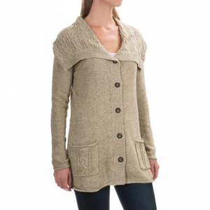 royal robbins three seasons cardigan sweater (for women)- Save 58% Off - CLOSEOUTS . Simply styled, but incredibly warm and luxuriously soft, Royal Robbinsand#39; Three Seasons cardigan sweater is a must-have layer for cooler weather. Classic cable-knit stitch on the oversized collar and patch pockets adds cozy charm. Available Colors: CHARCOAL, LIGHT KHAKI, ORCHID. Sizes: S, M, L, XL, XS, 2XS.