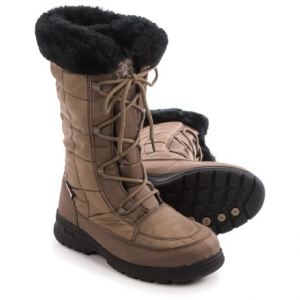 kamik newyork2 winter snow boots - waterproof, insulated (for women)- Save 71% Off - CLOSEOUTS . Hustle and bustle easily in Kamikand#39;s Newyork2 winter snow boots. Featuring a plush, faux-fur snow collar that plays up the quilted nylon upper, these boots add serious style to your ensemble. The DriDefense waterproof breathable membrane completely blocks out moisture, and the warm fleece lining keeps you cozy. Available Colors: DARK BROWN/DARK GREEN, BROWN, CHARCOAL. Sizes: 6, 7, 10, 11, 8, 9.