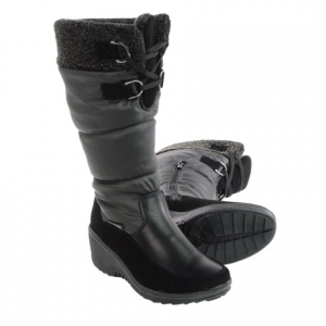 aquatherm by santana canada wren snow boots - waterproof (for women)- Save 81% Off - CLOSEOUTS . Feet stay dry in slushy, wet weather when youand#39;re wearing Aquatherm by Santana Canadaand#39;s Wren snow boots. The flattering waterproof upper features faux-fur lining from top to bottom, with a thermal cushioned insole for all-day warmth and comfort. Lacing detail and a half zip on the inside offer easy on-off. Available Colors: BLACK. Sizes: 6, 7, 8, 9, 10, 11.