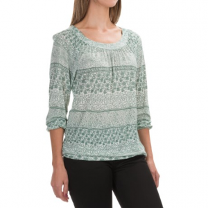 aventura clothing goodwyn shirt - 3/4 sleeve (for women)- Save 62% Off - CLOSEOUTS . Aventura Clothingand#39;s Goodwyn shirt is a breezy, bohemian-style favorite in drapey, light-as-a-cloud rayon with intricate floral patterns. A loose fit with gathers at the neckline and elastic at the cuffs and hem give this beauty its billowy shape. Available Colors: BLUE SPRUCE, GINGER SPICE, SMOKED PEARL. Sizes: XS, S, M, L, XL, 2XL.