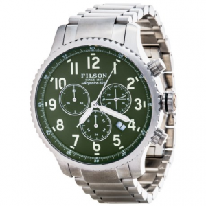 filson mackinaw field chronograph watch - stainless steel band (for men)- Save 55% Off - CLOSEOUTS . A true American original, handmade with care in Detroit, Filsonand#39;s Mackinaw field chronograph watch is as sturdy and high quality as they come. Powered by Shinolaand#39;s carefully calibrated Argonite quartz movement, illuminated by Super-LumiNova hands, numbers and markers, and finished with a gleaming stainless steel case and band, this watch is truly an investment worth making. Available Colors: GREEN/STAINLESS.